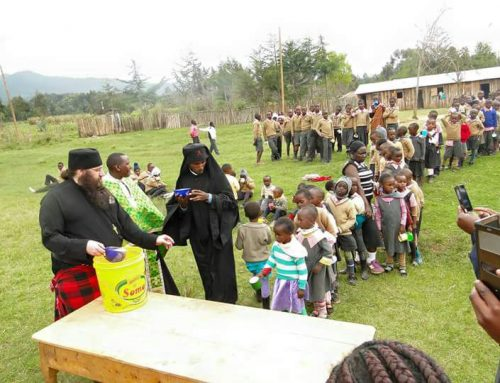 Feeding the children at St Irene Mission