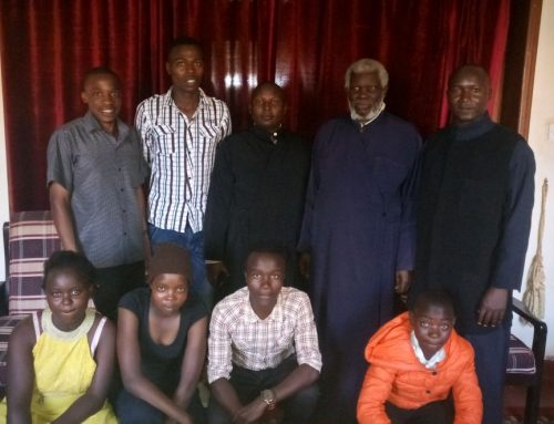 Fr Constantinos in His Eminence Jonah of Uganda office together with St Irene's Youth