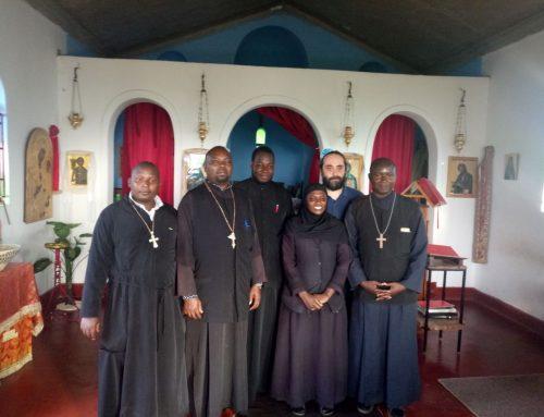 Fr Constantinos in a chapel with a nun in Uganda